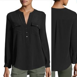 Joie Pauline Silk Shirt SZ XS Black Long Sleeve